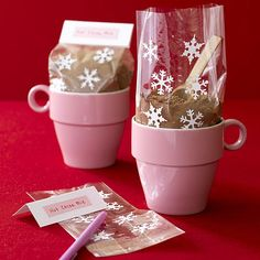 Hot chocolate mix and mug! Cute way to package hot chocolate for gifts!