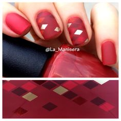 Pattern based on a Starbucks holiday gift bag. Colors: OPI First Date at the Golden Gate & Affair in Red Square, Zoya Pepper, Essie Good as Gold. Matte top coat. Striping tape used to mask off sections. By La_Manisera on Instagram.