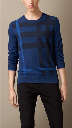 Burberry Brit Check Cotton Cashmere Sweater