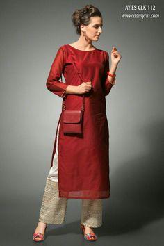 Buy Red Kurti with Cream Palazzo at Rs. Pakistani Dresses, Indian Dresses, Indian Outfits, Indian Attire, Indian Wear, Kurta Designs, Blouse Designs, India Fashion, Hijab Fashion