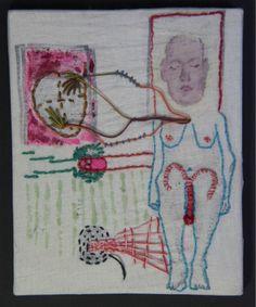 Vitor Novato - Fecundação 14 x 17,5 cm Xilogravura, pintura e bordado sobre tecido.