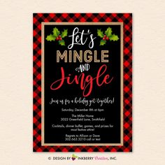 Christmas Party Invitation - Mingle Jingle, Red Black Buffalo Check Plaid, Holiday Party - Digital Printable File OR Printed Cardstock Cards - hashtags} - ideen hochzeit Christmas Open House, Office Christmas Party, Xmas Party, Plaid Christmas, Holiday Parties, Christmas Pajama Party, Frugal Christmas, Christmas Baby, Christmas Stocking