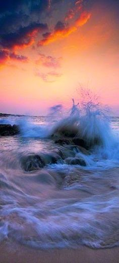 Stormy sea at sunset, San Diego, California