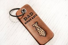 DAD leather key chain - Add date of becoming a Dad - Perfect for Fathers Day - Key fob, key ring via Etsy