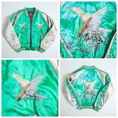 Vintage Japanese Eagle Taka Hawk Japan Souvenir Embroidery Sukajan Jacket - Japan Lover Me Store