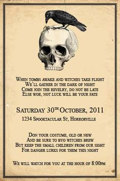 halloween party invitations diy | Halloween Skull and Crow Invitaiton - we design, you print