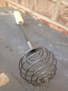 Retro Wire / Metal Round Whip - Whisk - Egg Beater - Hand Mixer - Manual Blender - White Plastic Handle on Etsy, $5.95