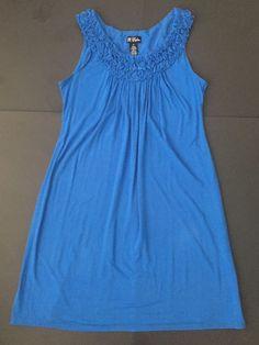 B Calm Blue Dress XL Ruffle Trim Neckline Stretch A-Line Casual Summer   | eBay