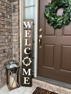 WELCOME SIGN welcome sign for front porch vertical welcome sign wreath welcome front door decor front porch hospitality large sign Spring Decor, Farmhouse Front, Small Porches, Front Door Colors, Front Door, Front Porch Decorating, Farmhouse Front Porches, Small Porch Decorating, Porch Decorating