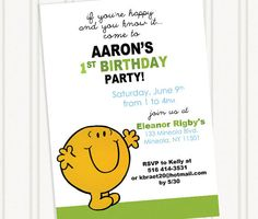 Mr Happy Birthday Invitation    **PLEASE NOTE SHIPPING IS INCLUDED IN THE COST FOR PRINTED INVITATIONS. **    Please choose and purchase your