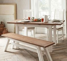 Farmhouse Table With Bench, Kitchen Table Bench, Small Kitchen Tables, Farmhouse Kitchen Tables, Dining Table With Bench, Furniture Dining Table, Pedestal Dining Table, Extendable Dining Table, A Table