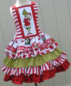 Custom Boutique Dr Seuss Fabric Grinch Ruffled Christmas Dress Girl 2 3 4 5 6 7 8 Made to Order or an apron