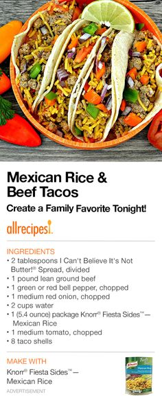 """Mexican Rice & Beef Tacos   """"These beef tacos with bell peppers, onion, and Mexican rice are quick and easy--just what you need after a busy day."""""""