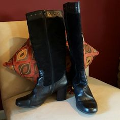 "BOC by Born Tall Leather and Suede Boots Size 8 Black super soft suede and leather BOC tall boots with gun metal stud details.  Full length zipper, approx 3"" stacked heel.  Worn but in EUC.  Normal scuffs on heels (see picture 2) and on toes (barely noticeable when worn). BOC/BORN Shoes Heeled Boots"