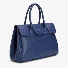 Matt & Nat Vegan Clarke Satchel Bag - Royal - Matt & Nat - Update your wardrobe with this gorgeous sustainable, ethical shoulder bag from Matt & Nat, made with faux leather but with an authentic look and feel. #Vegan #Vegetarian #EcoFriendly #Recycled