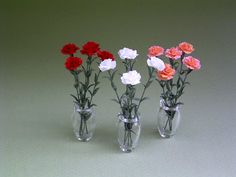 Carnation Paper Flower Kit for 1/12th scale by TheMiniatureGarden