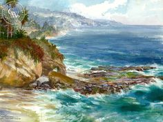 David Solomon - Treasure Island, California art, original California watercolor art for sale, fine art print for sale, giclee watercolor print - CaliforniaWat Watercolor Ocean, Arches Watercolor Paper, Watercolor Artists, Watercolor Landscape, Artist Painting, Watercolor Paintings, Watercolor Print, Watercolor Pictures, Seascape Paintings