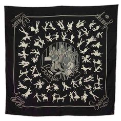 "HERMES Black & Grey ""Boogie Woogie"" Jazz Themed 90 cm Silk Scarf"