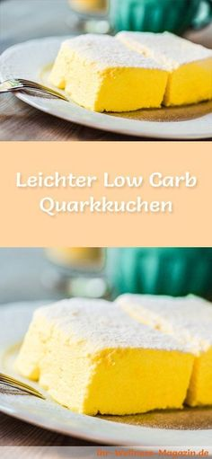Healthy low carb quark cake without soil - recipe without sugar .- Gesunder Low-Carb-Quarkkuchen ohne Boden – Rezept ohne Zucker Recipe for a light low carb quark cake – low in carbohydrates, low in calories, with no sugar and cereal flour - Low Carb Sweets, Low Carb Desserts, Low Carb Recipes, Baking Recipes, Cake Recipes, Dessert Recipes, Dinner Recipes, Protein Recipes, Law Carb