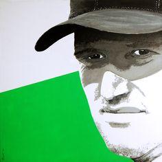 Portrait of Ernie Els by David Mack. Acrylic on canvas