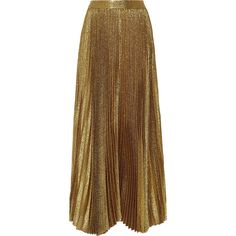 Alice + Olivia Katz pleated metallic silk-blend maxi skirt (45,665 INR) ❤ liked on Polyvore featuring skirts, long skirts, maxi skirt, gonne, saias, alice olivia maxi skirt, pleated skirt, floor length skirt, elastic waist maxi skirt and ankle length skirt