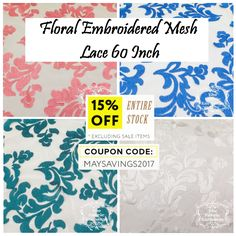 Floral Embroidered Mesh Lace 60 Inch A lightweight, fine, netting covered with embroidered damask like scrolls and vines. It is soft to the touch and is appropriate for #bridal and evening wear #dresses, #crafts, #floral arrangements, #gift #baskets, window #displays, #hats, #veils, #costumes, #overlays and #home #decor. Enjoy 15% OFF the entire site excluding sale items!! Coupon Code: MAYSAVINGS2017 Visit: http://thefabricexchange.com/floral-lace/