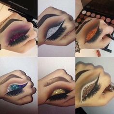 Make up ideas Eyeshadow looks Makeup Is Life, Makeup Goals, Makeup Inspo, Makeup Inspiration, Hand Makeup, Skin Makeup, Eyeshadow Makeup, Glitter Eyeshadow, Eyeliner