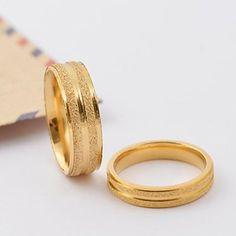 Anéis Forma Redonda Diário / Casual Jóias Aço Titânio / Chapeado Dourado Casal Anéis de Casal5 / 6 / 7 / 8 / 9 / 10 Dourado - BRL R$ 29,71