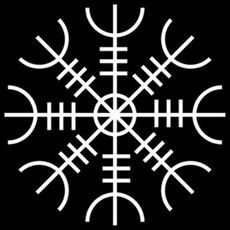 """Aegishjalmur is an ancient protective talisman of the Norse ---but the true nature of its magic has many interpretations. In icelandic sagas it can be found to confer power and dominance in conflict. To instill fear in one's enemies and to conquer fear in one's own mind. And while its literal translation is """"Terror Helm"""", it is believed that it was never actually a helm, but rather something worn impressed or imprinted upon the forehead."""
