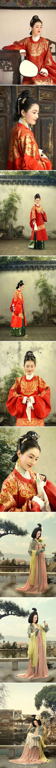 Embroidered Ming-style round collared Chang'ao. (Hanfu)