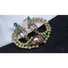 Vintage Rhinestone Bracelet Earrings Set Demi Parure Blue, Pink Greens... ($120) ❤ liked on Polyvore featuring jewelry, bracelets, blue jewellery, blue green jewelry, vintage green jewelry, blue rhinestone jewelry and vintage jewelry