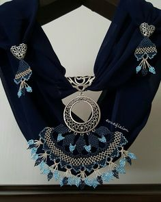 This Pin was discovered by zek Long Silver Hair, Scarf Jewelry, Crochet Art, Needle Lace, Ethnic Jewelry, Fitness Inspiration, Crochet Necklace, Jewelry Making, Jewels