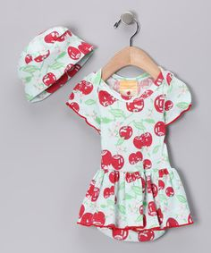 Take a look at this Cherry Pie Organic Skirted Bodysuit & Beanie - Infant by Barn Organics on #zulily today!