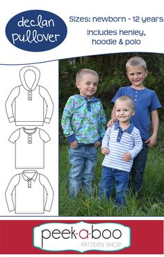Declan Pullover - Peek-a-Boo Pattern The front placket makes dressing a breeze and adds some extra style to any outfit. hoodie, and collar options. Sewing Patterns For Kids, Pdf Sewing Patterns, Sewing For Kids, Free Sewing, Hand Sewing Projects, Projects For Kids, Craft Projects, Craft Ideas, Sewing Stitches