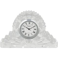 Pre-owned Waterford Crystal Desk Clock (245 RON) ❤ liked on Polyvore featuring home, home decor, clocks, clear, second hand clock, waterford clock, roman numeral clock, waterford and round clock