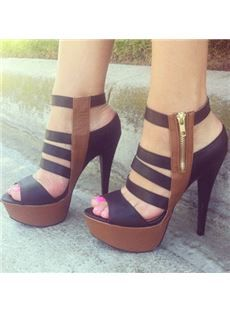 Fashionable Contrast Color Coppy Leather Platform Sandals