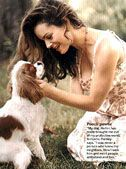"""Kimberly Williams-Paisley, wife of Brad Paisley and their Cavalier  named """"Holler"""""""