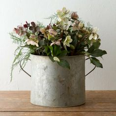 Setting the Table: galvanized container from Terrain with Hellebores