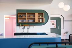Studio Roslyn's Superbaba references traditional Middle Eastern diners, offset with bold, contemporary colours that create a vibrant and casual atmosphere.