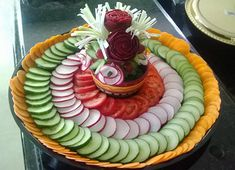Vegetable tray with beet roses by Smita Jaiswal Fruit And Vegetable Carving, Vegetable Platters, Fruits And Vegetables, Beets, Food Art, Watermelon, Fruit Carvings, Roses, Baby Shower