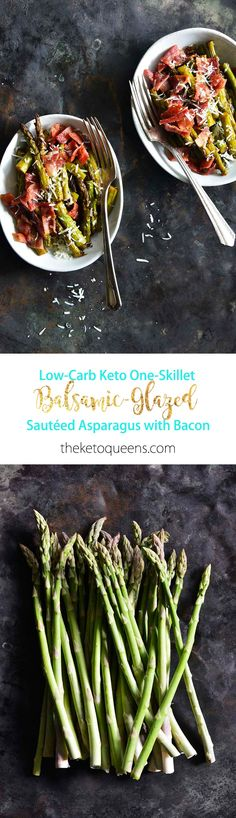 Keto One-Skillet Balsamic-Glazed Sautéed Asparagus with Bacon Long Pin