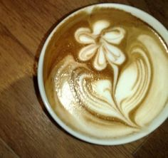 Latte art- flower.  Delicious and lovely.