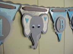 ELEPHANT Baby Shower Banner, It's a Boy, Circus Baby Shower, Safari Baby Shower, Zoo Baby Shower, Baby Garland, Baby Photo Prop. $32.00, via Etsy.