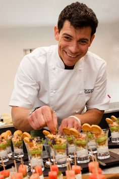 Marcus Bean created column shaped canapes at the exclusive preview of Column House Gardens.