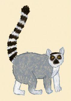 Ring-tailed lemur by Japanese illustrator - Yusuke Yonezu Illustrations, Graphic Illustration, Photography Illustration, Wild Dogs, Naive Art, Jungle Animals, Japanese Artists, Wildlife Art, Simple Art