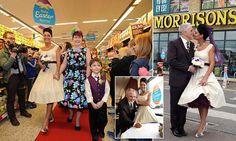 Walking down the aisle: Happy couple tie the knot in the Morrisons cafe where they used to go on dates together