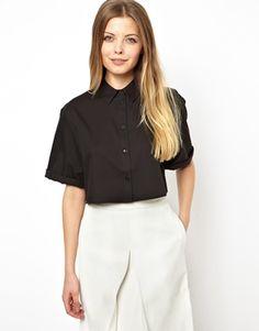 ASOS Cropped Shirt with Boxy Sleeve in Geo Jacquard Shape Boxy