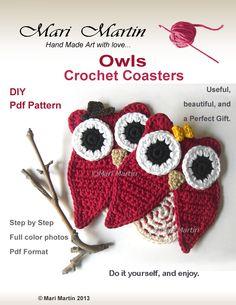 Beautiful!  Crochet Coasters Owl Pattern