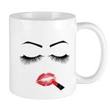 Eyelashes Fashion Cartoon 11 oz Ceramic Mug Eyelashes Fashion Cartoon Mugs by Adrianne_Desire - CafePress Mug Designs, Drinkware, Vivid Colors, Eyelashes, Coffee Mugs, Ceramics, Cartoon, How To Make, Crafts