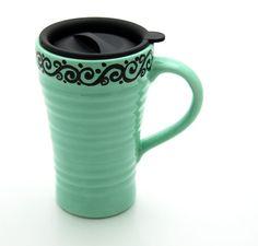 Ceramic Travel Mug Seafoam Mint and Black with Scrolls. $10.00, via Etsy.